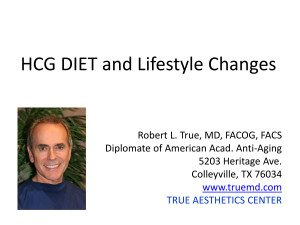 HCG DIET and Lifestyle Changes
