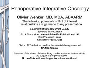 Perioperative Integrative Oncology